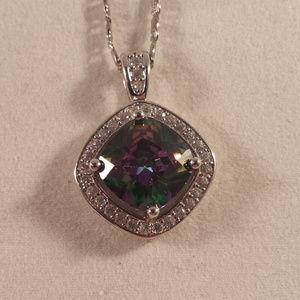 Jewelry - 18K WGF Mystical Topaz Zircon Halo Necklace